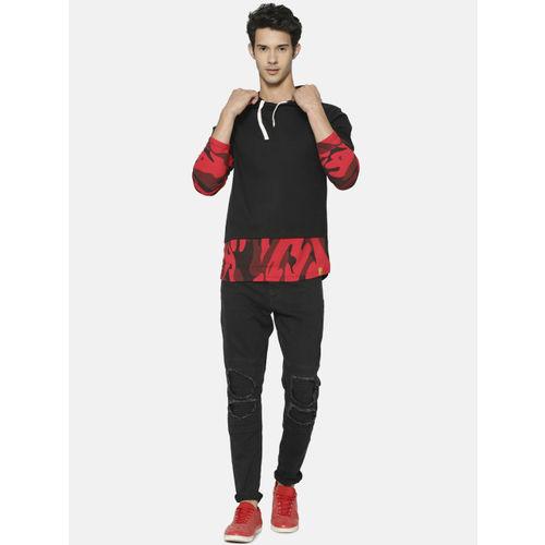 Campus Sutra Men Black & Red Printed Hooded Sweatshirt