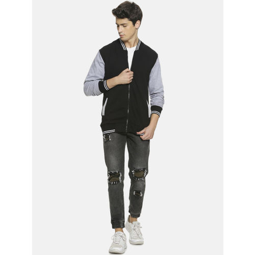 Campus Sutra Men Black & Grey Colourblocked Sweatshirt