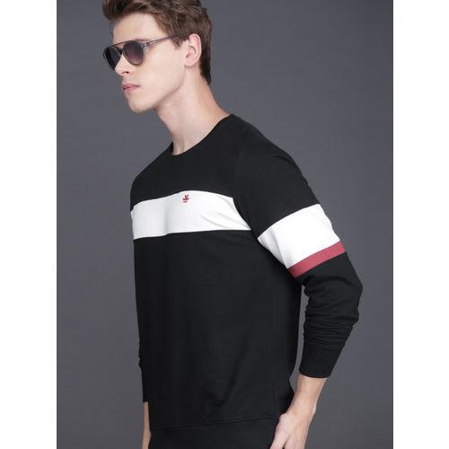 WROGN Men Black & White Colourblocked Slim Fit Sweatshirt