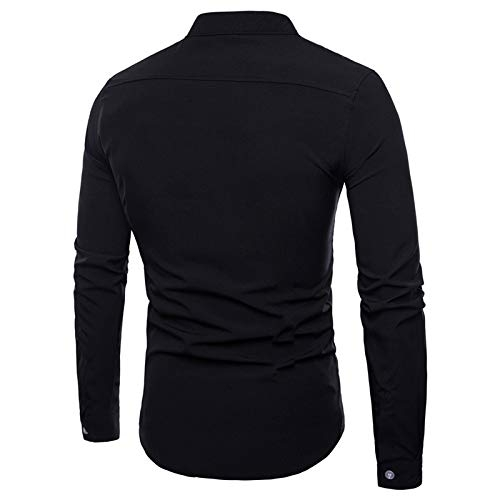 Jeevaan Black Cotton Plain Solid Slim Fit Partywear Shirt