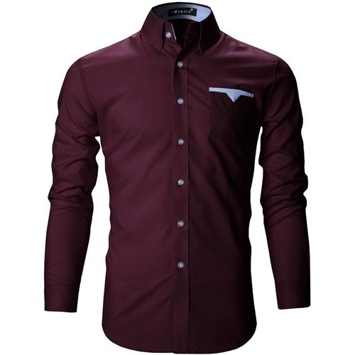 FINIVO FASHION Maroon Cotton Solid Casual Shirt