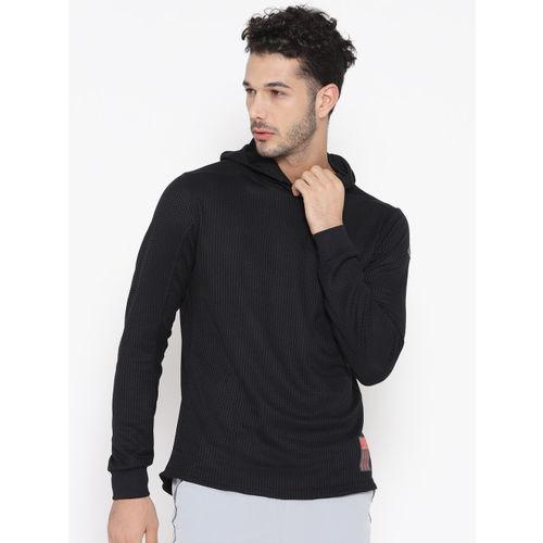 ADIDAS Men Black Adapt Hooded Self-Checked Running Sweatshirt