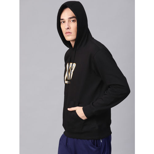 HRX by Hrithik Roshan Men Black Lifestyle Hooded Printed Sweatshirt