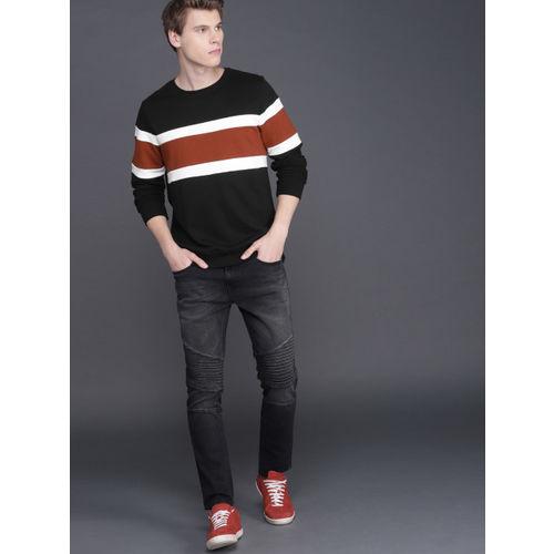WROGN Men Black & Brown Colourblock Slim Fit Sweatshirt