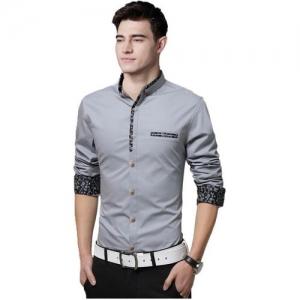 IndoPrimo Grey Cotton Partywear Shirt