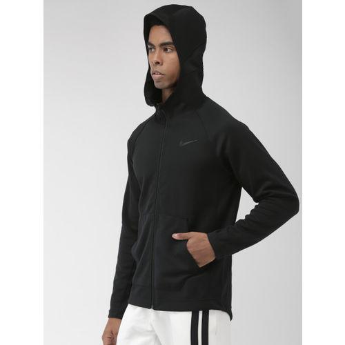 Nike Men Black Solid Hooded Dri-FIT SPOTLIGHT Standard Fit Training Sweatshirt