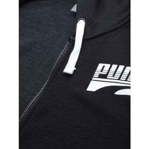 Puma Men Black Printed Rebel Bold FZ Hoody FL Puma Black Hooded Sweatshirt