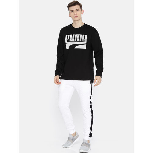 Puma Men Black & White Printed Rebel Bold Crew FL Sweatshirt