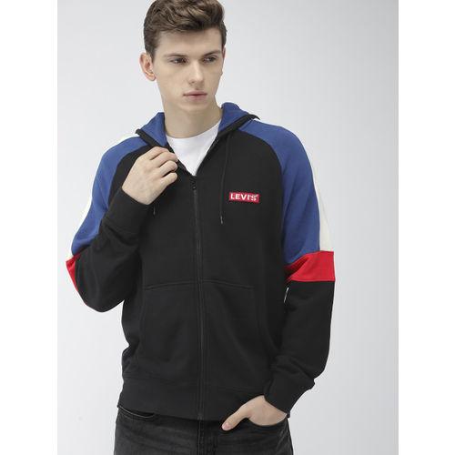Levis Men Black & Blue Solid Hooded Front-Open Sweatshirt