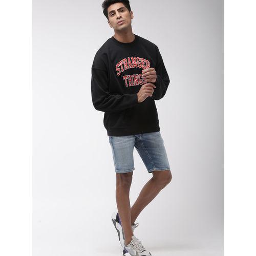 Levis x Stranger Things Men Black Self Design Sweatshirt