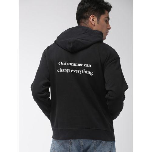 Levis x Stranger Things Men Black Printed Hooded Sweatshirt