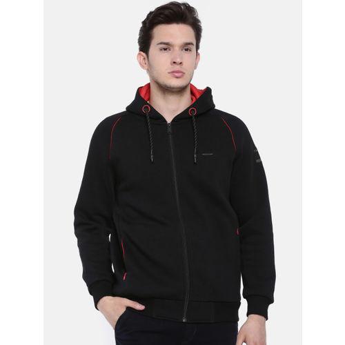 t-base Men Black Solid Hooded Sweatshirt