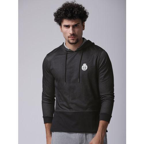 YWC Men Black Mesh Hooded Sweatshirt
