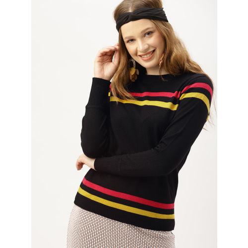 DressBerry Women Black & Mustard Yellow Striped Pullover Sweater