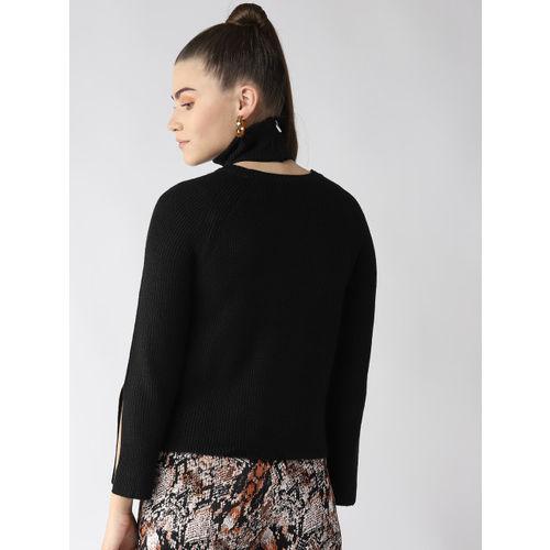 Madame Women Black Solid Sweater