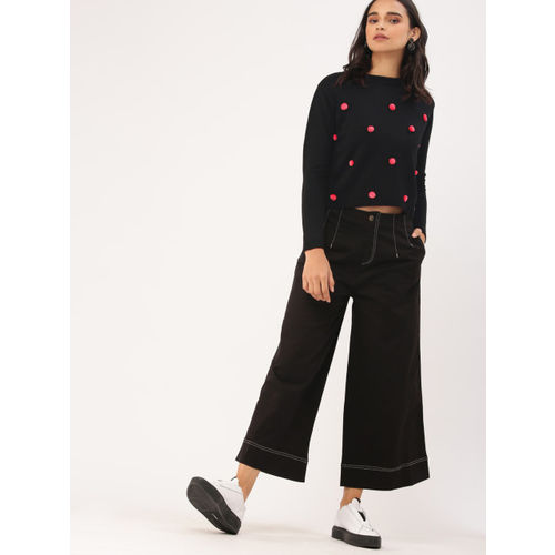 DressBerry Women Black Solid Pom Pom Detail Sweater