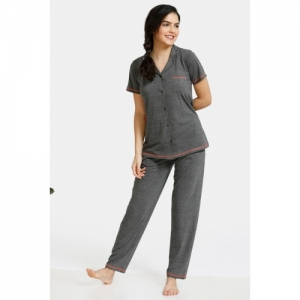 Zivame Must Haves Poly Cotton Top N Pyjama Set - Anthra