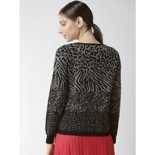 Madame Women Black & Grey Animal Print Sweater