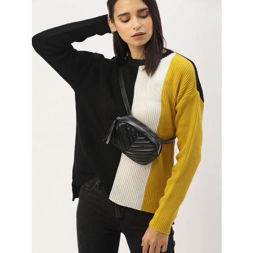 DressBerry Women Black & White Colourblocked Sweater