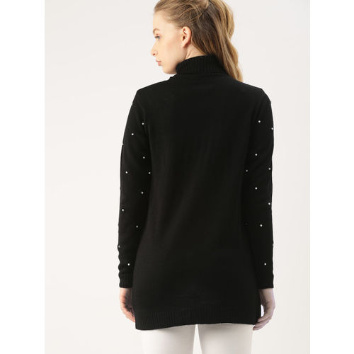 DressBerry Women Black Embellished Longline Sweater