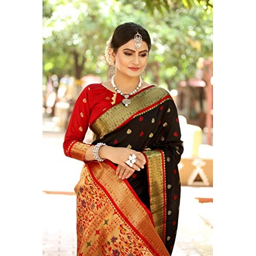 Heer Fashion Black Paithani Silk Weaving Saree with Contrast Rich Pallu