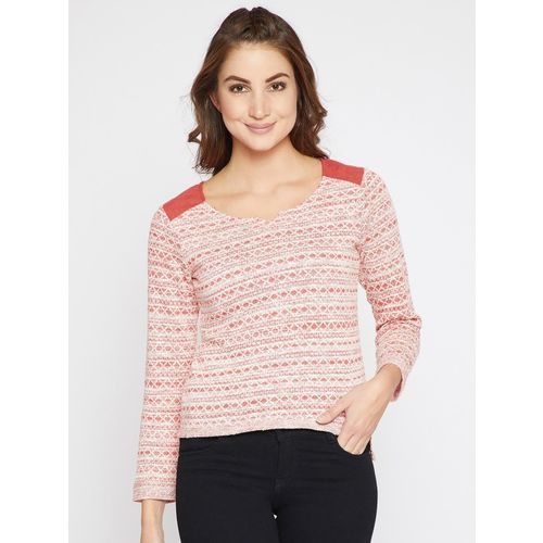 Rare Printed Round Neck Casual Women Red Sweater