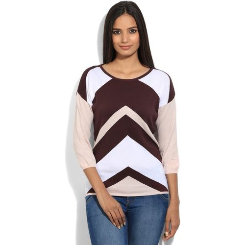 United Colors of Benetton. Solid Round Neck Casual Women White, Brown sweater
