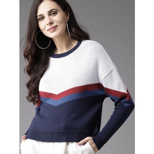 Moda Rapido Solid Round Neck Casual Women White Sweater