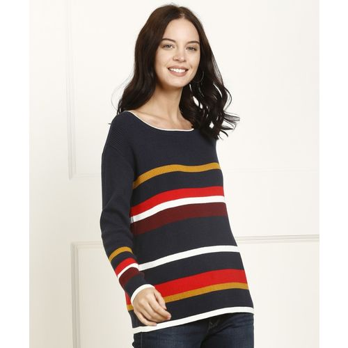 Tommy Hilfiger Striped Boat Neck Casual Women Multicolor Sweater