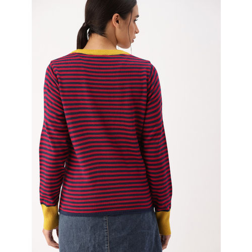 DressBerry Women Navy Blue & Red Striped Sweater