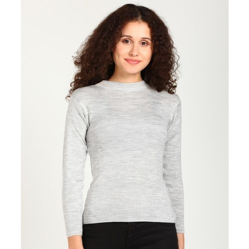 Breil by Fort Collins Self Design Crew Neck Casual Women Grey Sweater