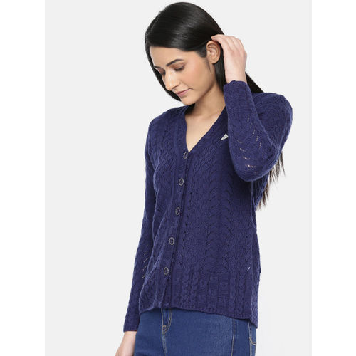 Monte Carlo Women Navy Blue Self-Design Cardigan