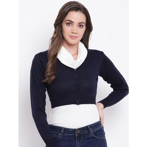 Monte Carlo Women Navy Blue Solid Crop Cardigan