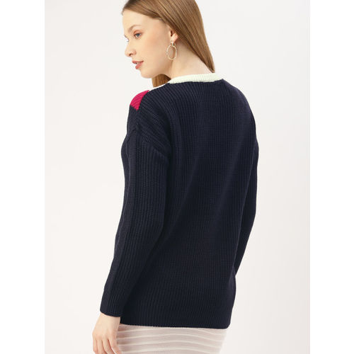 DressBerry Women Navy Blue & Off White Colourblocked Pullover Sweater