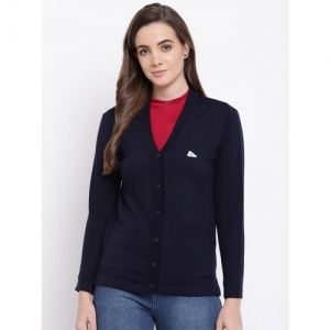 Monte Carlo Women Navy Blue Solid Cardigan