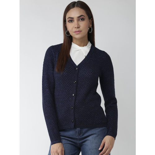 Madame Women Navy Blue Self Design Cardigan