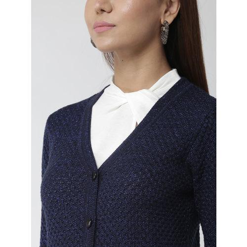 Madame Women Navy Blue Self Design Cardigan