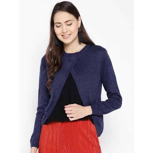 Cayman Women Navy Blue Solid Cardigan