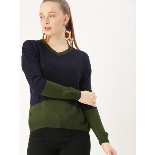 DressBerry Women Navy Blue & Olive Green Colourblocked Sweater