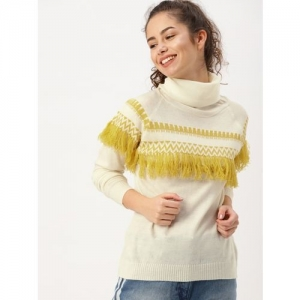Dressberry Self Design Turtle Neck Casual Women Beige Sweater
