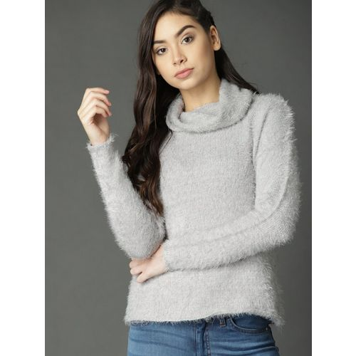 Roadster Fast and Furious Solid Turtle Neck Casual Women Grey Sweater