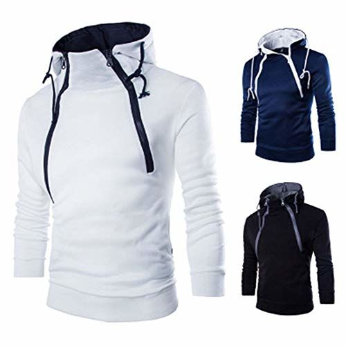 DishyKooker nevy blue Casual Sports  Double Zipper Hoodie