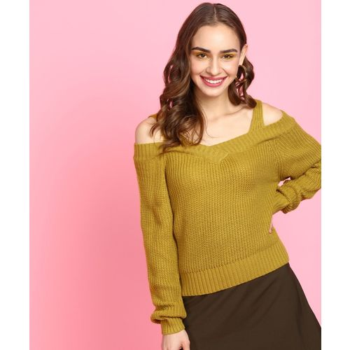 Insua Self Design V Neck Casual Women Yellow Sweater