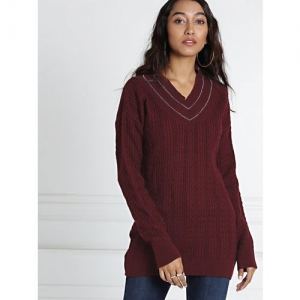All About You Solid V Neck Casual Women Maroon Sweater