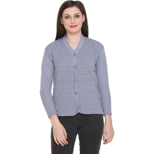 Pivl Self Design V Neck Casual Women Grey Sweater