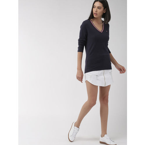 Tommy Hilfiger Women Navy Blue Solid Pullover Sweater