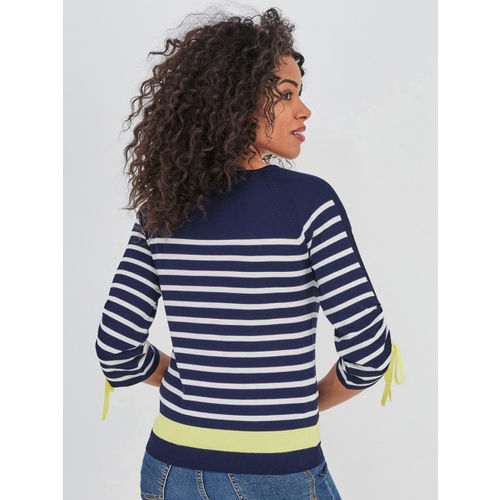promod Women Navy Blue & White Striped Sweater