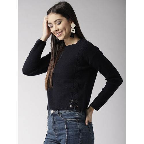Madame Women Navy Blue Solid Pullover Sweater