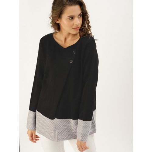Dressberry Solid V Neck Casual Women Black Sweater