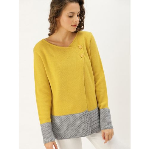 Dressberry Solid V Neck Casual Women Yellow Sweater